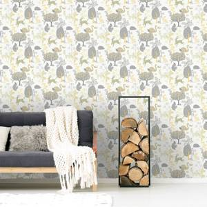 Fresco Forest Critters Yellow/Grey Forest Wallpaper