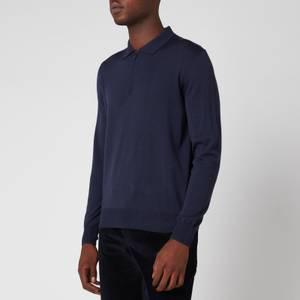 Canali Men's Long Sleeve Zip Polo Shirt - Navy