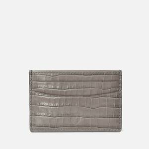 Aspinal of London Women's Slim Credit Card Case Deep Shine Small Croc - Warm Grey