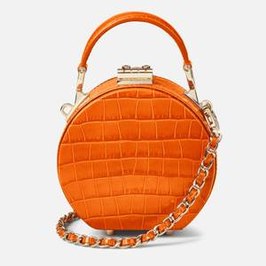 Aspinal of London Women's Micro Deep Shine Small Croc Hat Box Bag - Marmalade