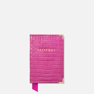 Aspinal of London Women's Plain Passport Cover Deep Shine Small Croc Bag - Hibiscus