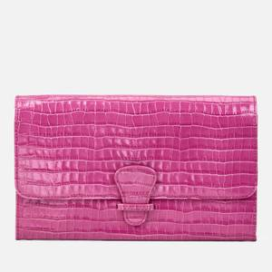 Aspinal of London Women's Classic Travel Wallet Deep Shine Small Croc Bag - Hibiscus
