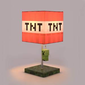 Minecraft TNT Block Desk Lamp with 3D Creeper Puller - 14 Inch