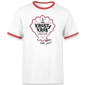 Spongebob Krusty Krab Unisex Ringer T-Shirt - White / Red