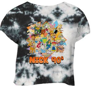 T-shirt Nickelodeon Nostalgia Cropped - Noir Tie Dye - Femme
