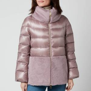 Herno Women's Ultra Lightweight Mixed Fabric Down Jacket - Lilla