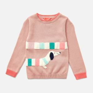 Joules Kids' GeeGee Intarsia Knit Jumper - Pink Dog