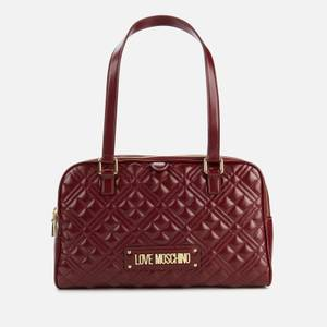 Love Moschino Women's Quilted Bowling Bag - Burgundy