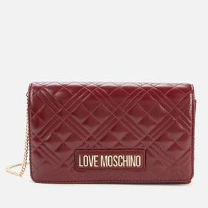 Love Moschino Women's Quilted Chain Shoulder Bag - Burgundy