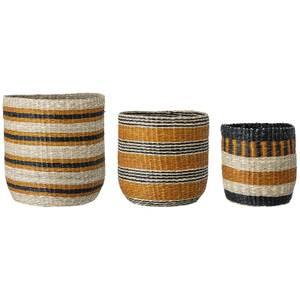 Bloomingville Striped Basket - Set of 3 - Mustard