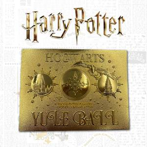 Ticket d'Invitation Harry Potter Bal de Noël Plaqué Or 24K Édition Limitée Zavvi Exclusif