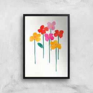Kubistika Happy Little Flowers Giclee Art Print