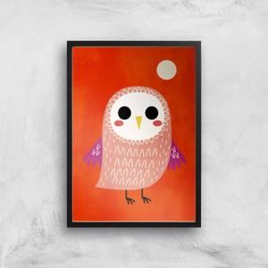 Kubistika Little Owl Giclee Art Print