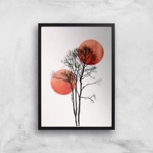 Kubistika Sun & Moon Hiding Giclee Art Print