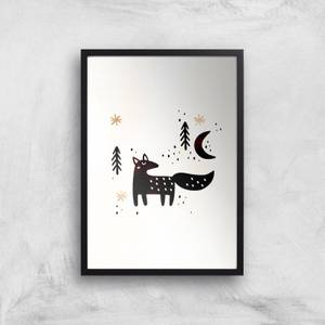 Kubistika Little Winter Fox Giclee Art Print