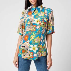 Simon Miller Women's Bandera Shortsleeve Shirt - Blue Floral Print