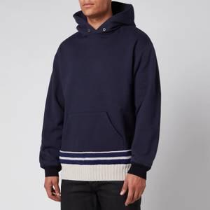 Maison Margiela Men's Contrast Knit Hoodie - Navy