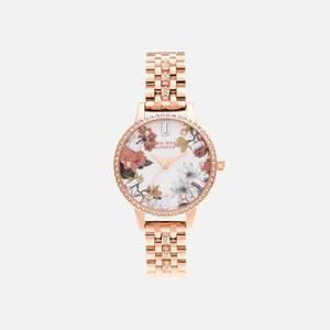 Olivia Burton Women's Sparkle Florals Demi Rose Sparkle Bracelet Watch - Gold
