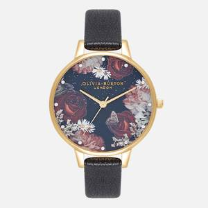 Olivia Burton Women's Winter Blooms Demi Watch - Black & Gold