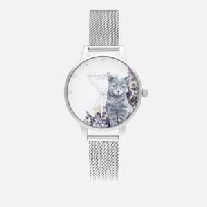 Olivia Burton Women's Illustrated Animals Illustrated Animals Watch - Grey Cat Silver