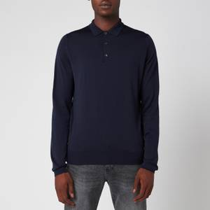 John Smedley Men's Belper 30 Gauge Extra Fine Merino Wool Long Sleeve Polo-Shirt - Midnight