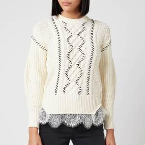Self Portrait Women's Cable Knit Contrast Stitch Jumper - Ivory