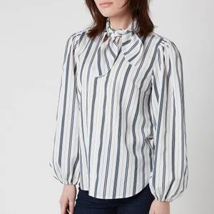 See by Chloé Women's Tie Neck Striped Shirt - White Blue