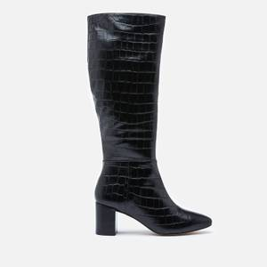 Dune Women's Saffia Croc Printed Leather Knee High Boots - Black