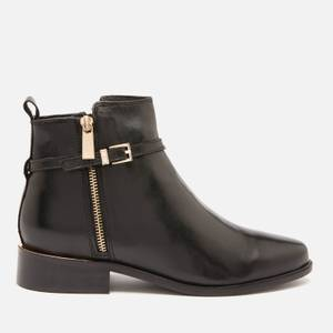 Dune Women's Pop Leather Ankle Boots - Black