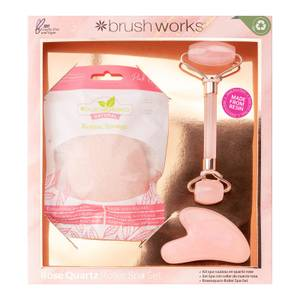 brushworks Resin Rose Quartz Roller Spa Set