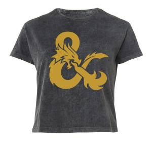 Dungeons & Dragons Gold Ampersand Women's Cropped T-Shirt - Black Acid Wash