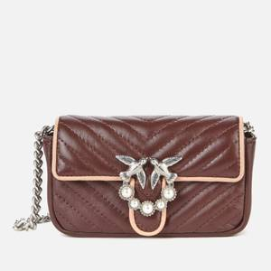 Pinko Women's Love Tiny V Quilt Bag - Bordeaux/Pink