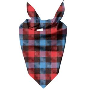 Red, Blue & Black Checkered Tartan Dog Bandana