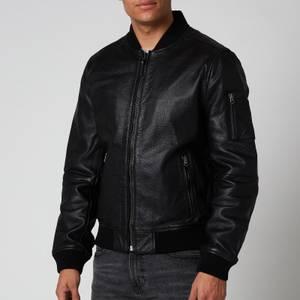 Superdry Men's Leather Bomber Jacket - Black