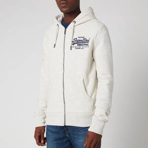 Superdry Men's Vintage Label Embossed Zip Hoodie - Queen Marl