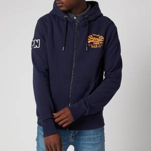 Superdry Men's Vintage Label Embossed Zip Hoodie - Atlantic Navy
