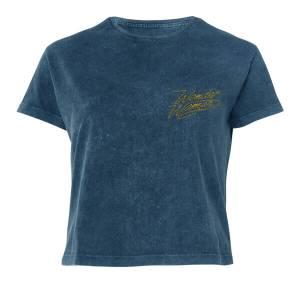 Wonder Woman Logo Women's Cropped T-Shirt - Navy Acid Wash