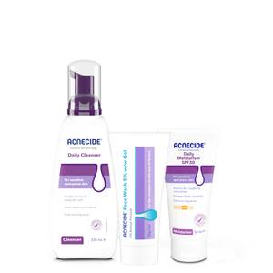 """""""The Double Cleanse"""" kit - Complete Daily Skincare Set with Acnecide Wash-off Facial Acne Treatment"""