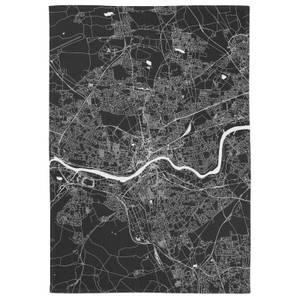 Negative Newcastle City Map Tea Towel