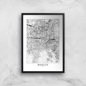 Munich City Map Giclee Art Print