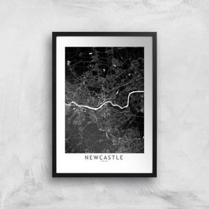 Negative Newcastle City Map Giclee Art Print