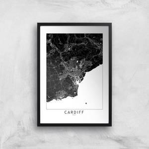 Negative Cardiff City Map Giclee Art Print