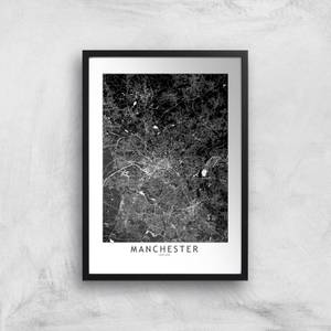 Negative Manchester City Map Giclee Art Print