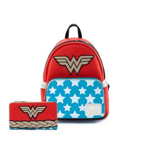 Loungefly DC Comics Vintage Wonder Woman Cosplay Mini Backpack and Wallet Set