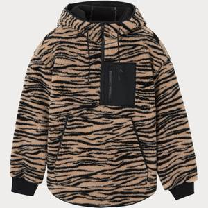 Calvin Klein Jeans Women's Zebra Sherpa Popover Jacket - Cream Black