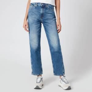 Calvin Klein Jeans Women's High Rise Blue Straight Jeans - Blue