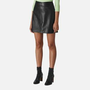 Whistles Women's Leather A Line Skirt - Black