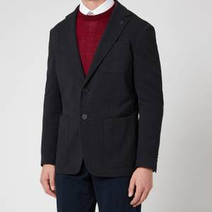 Canali Men's Two Button Vented Patch Pocket Unstructured Jersey Jacket - Navy