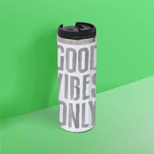 The Motivated Type Good Vibes Only Slanted Thermo Travel Mug