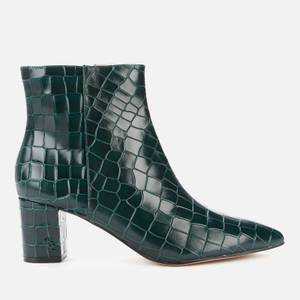 Kurt Geiger London Women's Burlington Leather Heeled Ankle Boots - Dark Green